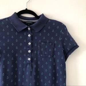 Lands' End Nautical Anchor Polo Dress Blue Small